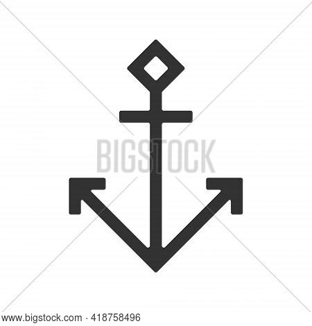 Anchor Vector Icon. Naval Marine Symbol. Sailing And Maritime Sign Logo. Silhouette Shape Isolated O