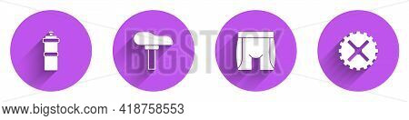 Set Sport Bottle With Water, Bicycle Seat, Cycling Shorts And Sprocket Crank Icon With Long Shadow.