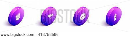 Set Isometric Bicycle Helmet, , Sprocket Crank And Sport Bottle With Water Icon. Vector