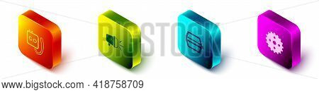 Set Isometric Stopwatch, Bicycle Head Lamp, Pedal And Sprocket Crank Icon. Vector