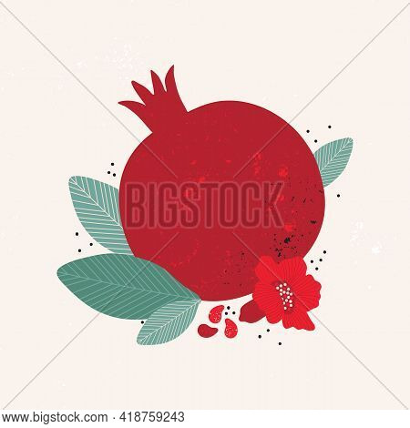 Red Juicy Pomegranate Vintage Vector Illustration. Sweet Tropical Fruits. Abstract Composition For S