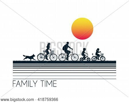 Family On Bikes. People On Bicycles Silhouettes. Cyclists And Dog