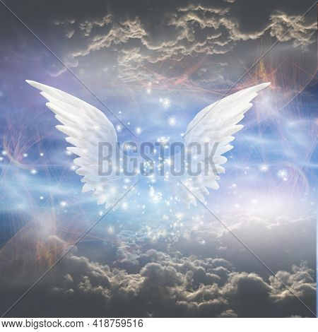 Angel's wings. Spiritual composition. 3D rendering.