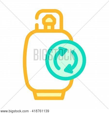 Reusing Cylinder Biogas Color Icon Vector. Reusing Cylinder Biogas Sign. Isolated Symbol Illustratio