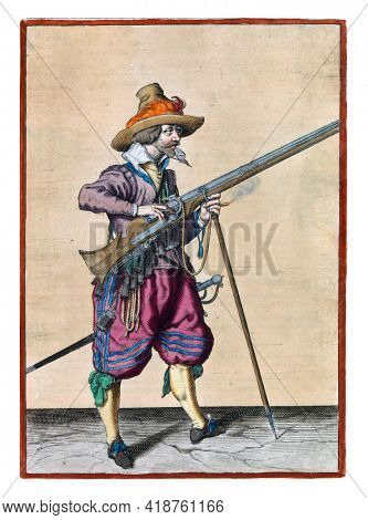 A soldier on guard, full-length, to the right, holding a musket (a type of firearm) with his left hand by the fork of the furket (musket fork) on which the barrel rests.