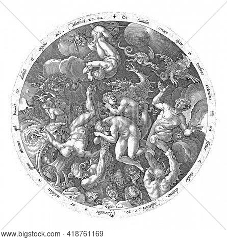 Round representation of the arrival of the accursed in hell. Devilish beings pull souls down. To depict biblical texts in Latin.