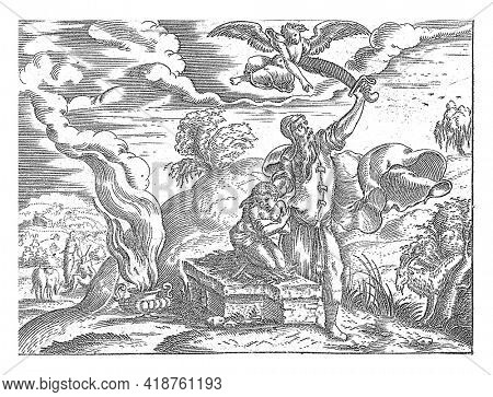 An angel stops Abraham who is just about to sacrifice his son Isaac. Print from a series of 12 prints with the life of Abraham.
