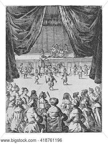 Monkeys dance neatly for a king and his guests until a courtier scatters notes on stage. The monkeys forget their learned behavior and fight for the nuts. Illustration from a fable of Aesop.