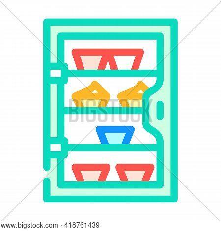 Cakes Showcase Color Icon Vector. Cakes Showcase Sign. Isolated Symbol Illustration