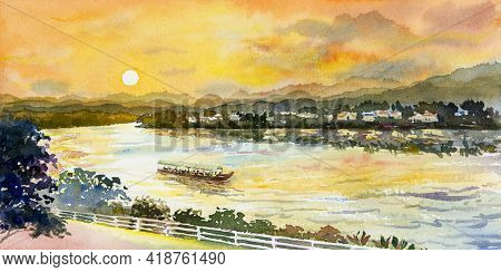 Watercolor Landscape Painting Colorful Of Mekong River, Sun Mountain Natural Beautiful And Forest Wi