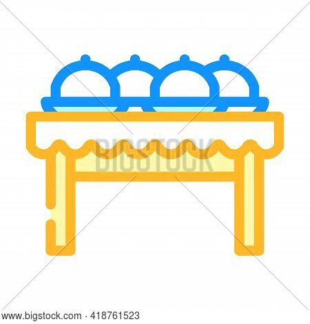Dishes On Tables Color Icon Vector. Dishes On Tables Sign. Isolated Symbol Illustration