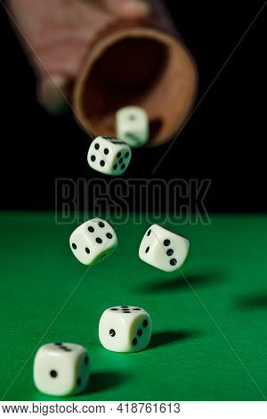 White Dice Cubes On Black Background, Playing Dice In Casino