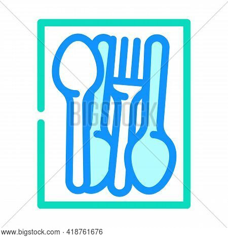 Kitchenware Spoon And Fork Color Icon Vector. Kitchenware Spoon And Fork Sign. Isolated Symbol Illus