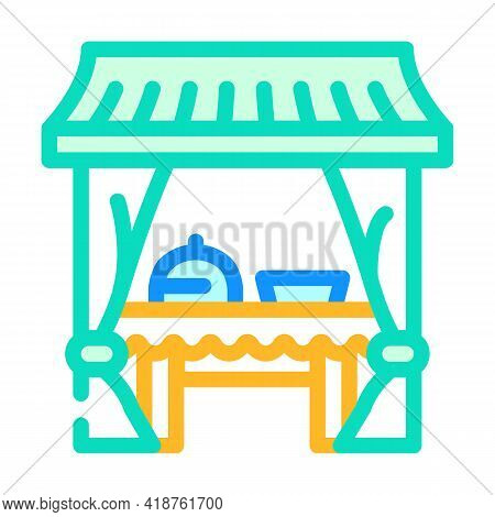 Tent Buffet Color Icon Vector. Tent Buffet Sign. Isolated Symbol Illustration