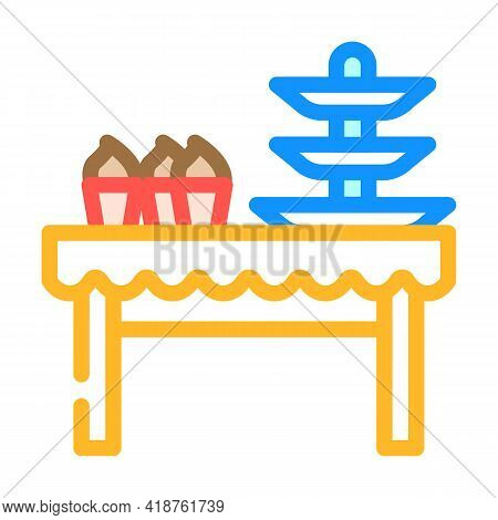 Dessert Table Buffet Color Icon Vector. Dessert Table Buffet Sign. Isolated Symbol Illustration