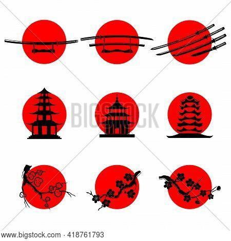 A Set Of Japanese-style Icons On The Background Of The Sun. Japanese Symbols Katana, Pagoda, Sakura