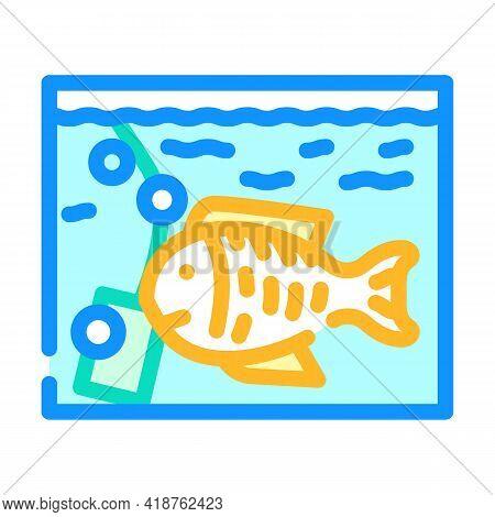 Aquarium With Fish Color Icon Vector. Aquarium With Fish Sign. Isolated Symbol Illustration