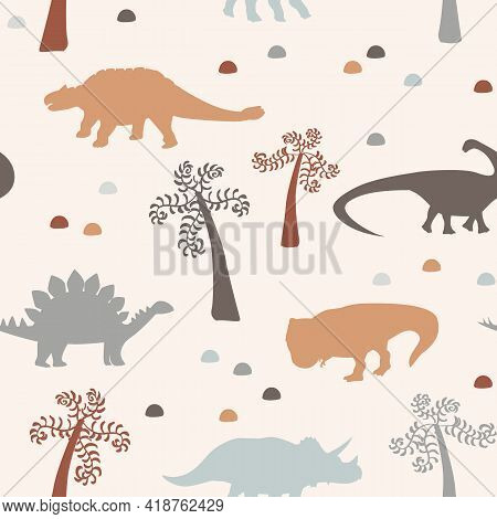 Vector Seamless Pattern Of Black Dinosaur Silhouette And Palms Isolated On Grey Background