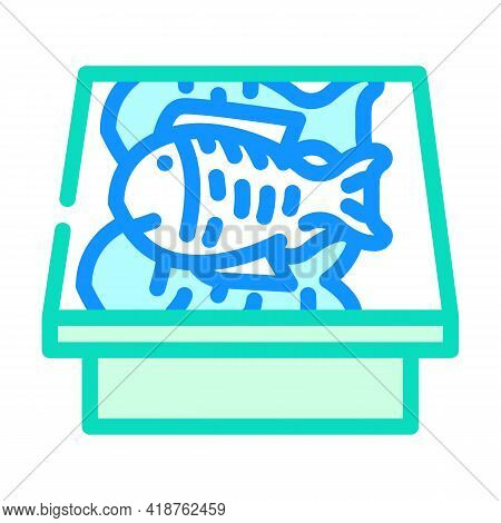 Showcase With Fish Color Icon Vector. Showcase With Fish Sign. Isolated Symbol Illustration