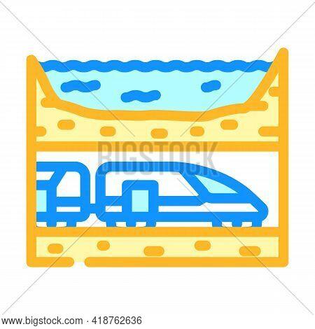Underwater Railway Tunnel Color Icon Vector. Underwater Railway Tunnel Sign. Isolated Symbol Illustr