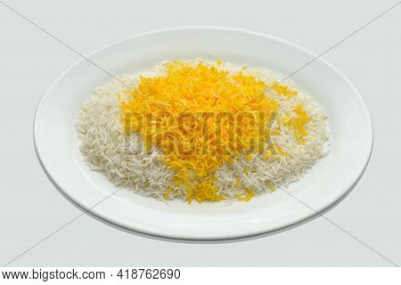 Steamed Yellow And White Rice Served In White Ceramic Plate, Steamed Yellow Rice And White Rice, Bea