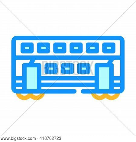 Double-deck Wagon Color Icon Vector. Double-deck Wagon Sign. Isolated Symbol Illustration