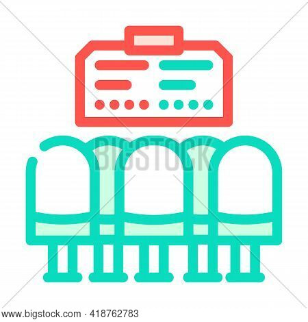 Waiting Hall Railway Station Color Icon Vector. Waiting Hall Railway Station Sign. Isolated Symbol I