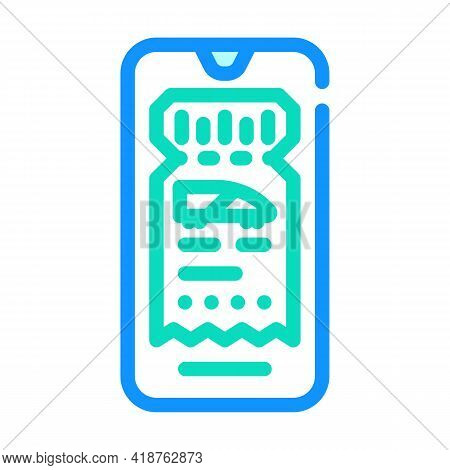 Electronic Ticket E-ticket Color Icon Vector. Electronic Ticket E-ticket Sign. Isolated Symbol Illus