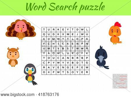 Game Template Word Search Puzzle Of Animals For Children With Pictures. Kids Activity Worksheet Prin