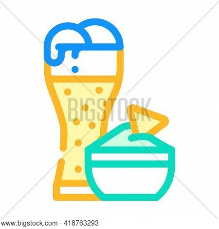 Nachos Snack And Beer Color Icon Vector. Nachos Snack And Beer Sign. Isolated Symbol Illustration