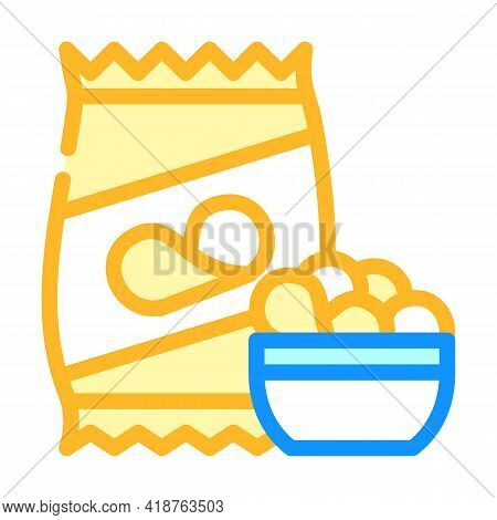 Chips Snack Color Icon Vector. Chips Snack Sign. Isolated Symbol Illustration