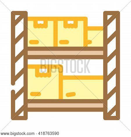 Warehouse Shelves Wholesale Color Icon Vector. Warehouse Shelves Wholesale Sign. Isolated Symbol Ill