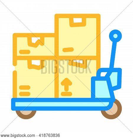 Transporter Cart Wholesale Color Icon Vector. Transporter Cart Wholesale Sign. Isolated Symbol Illus