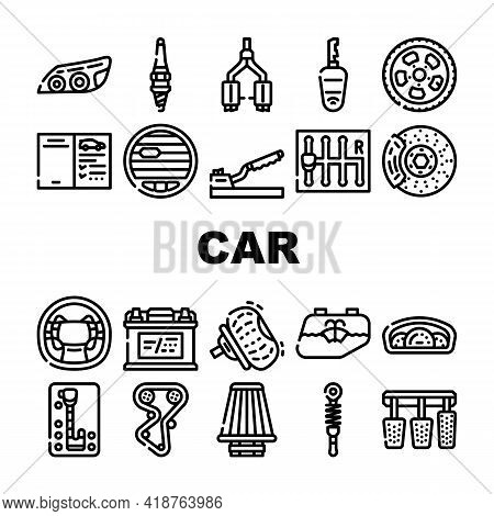 Car Vehicle Details Collection Icons Set Vector. Car Headlight And Airbag, Manual And Automatic Tran