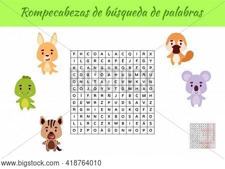 Rompecabezas De Búsqueda De Palabras - Word Search Puzzle. Educational Game For Study Spanish Words.