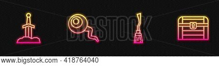 Set Line Witches Broom, Sword In The Stone, Eye And Antique Treasure Chest. Glowing Neon Icon. Vecto