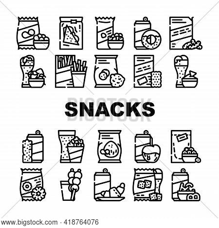 Snacks Food And Drink Collection Icons Set Vector. Dried Bananas And Caramel Fruits, Coconut Chips A