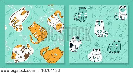 Cats, Wool Balls And Fish - Set Of Seamless Patterns. Vector Background For Fabric, Textile, Posters