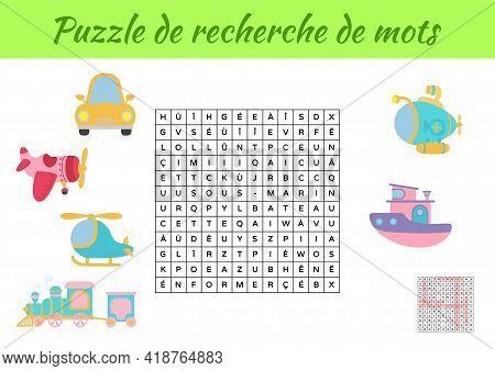 Puzzle De Recherche De Mots - Word Search Puzzle With Pictures. Educational Game For Study French Wo