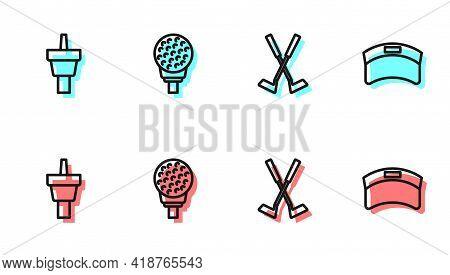 Set Line Crossed Golf Club, Golf Tee, Ball On And Sun Visor Cap Icon. Vector