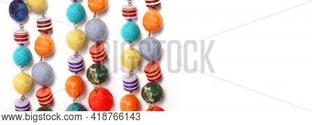 Felt beads. Bright Ecuadorian beads. Ecuador