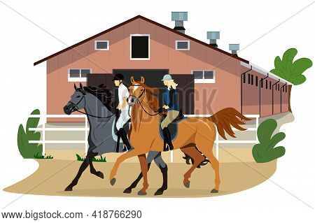 Vector Illustration Of Equestrian Sport In Flat Style. Stable. A Man And A Woman Are Riding Horses.