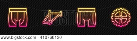Set Line Cycling Shorts, , Bicycle Frame And Sprocket Crank. Glowing Neon Icon. Vector