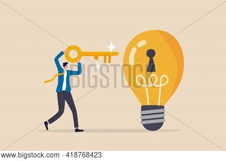 Unlock New Business Idea, Invent New Product Or Creativity Concept, Smart Businessman Holding Golden