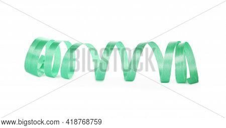 Green Serpentine Streamer Isolated On White. Party Element