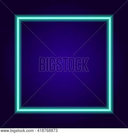 Black Neon Square Turquoise In Trendy Style On Blue Background. Template 3d Illustration. 3d Banner
