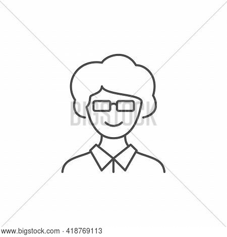 Middle Age Woman Line Outline Icon Isolated On White