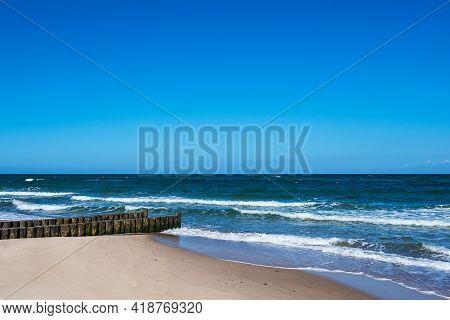 Groyne On The Baltic Sea Coast In Kuehlungsborn, Germany.