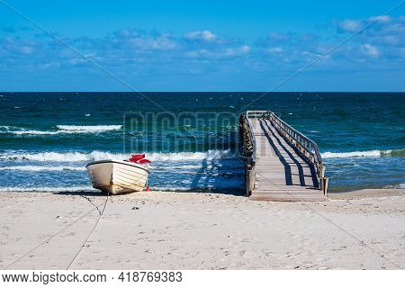 Fishing Boat On The Baltic Sea Coast In Zingst, Germany.