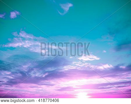Cloud Pink, Blue Rainbow Sky Pastel Abstract Gradient Blurred. Soft Focust Canopy. Wallpaper Or Back
